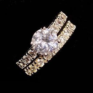 NEW! Engagement Wedding Ring Silver Diamonds CZ
